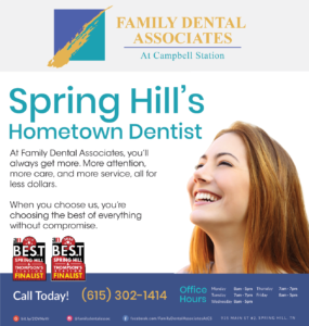 an ad for Family Dental Associates recognizing them as a finalist for Best of Spring Hill and Thompsons Station awards