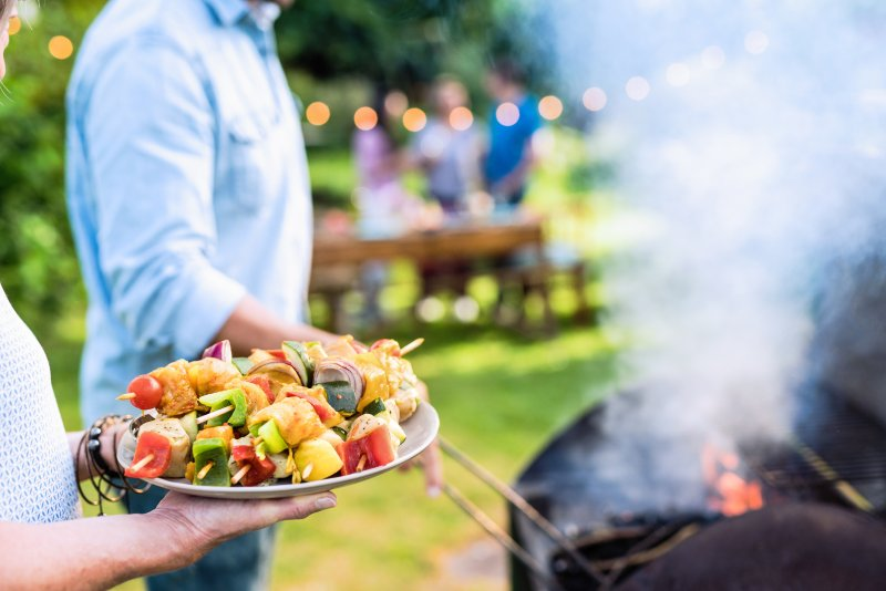 grilling food backyard during summer